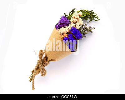 Beautiful dry bouquet on white background - Stock Photo