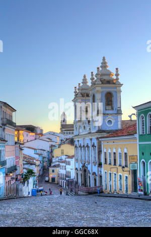 geography / travel, Brazil, Bahia, Salvador, cobbled streets in the historic centre / a UNESCO World Heritage site, - Stock Photo