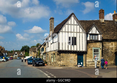 High Street Lacock in Wiltshire UK - Stock Photo