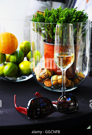 Prague Charles Square day Italian foodChampagne in a glass in background decoration - Stock Photo