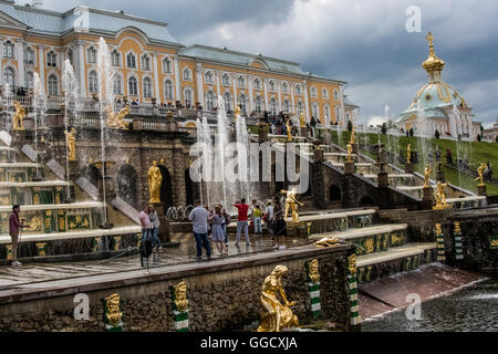 The Grand Cascade at the Peterhof Palace near St. Petersburg, Russia - Stock Photo