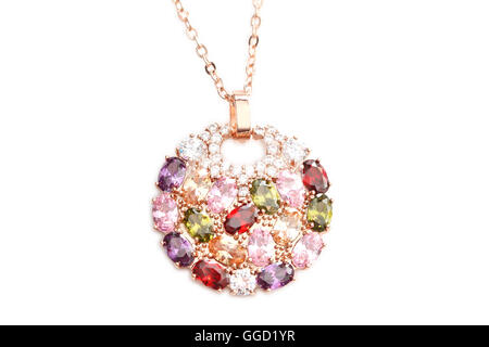 Necklace with many colorful gems - Stock Photo
