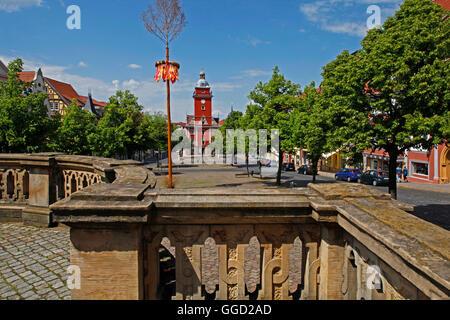 geography / travel, Germany, Thuringia, Gotha, historic city hall at the main market, built 1567, exterior view, - Stock Photo