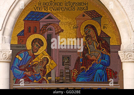 geography / travel, Cyprus, Kykkos Monastery, mosaic in the inner courtyard, Holy Family, 19th / 20th century, Additional - Stock Photo