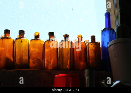 Bottles on window sill at Bellwether Wines, Australia - Stock Photo