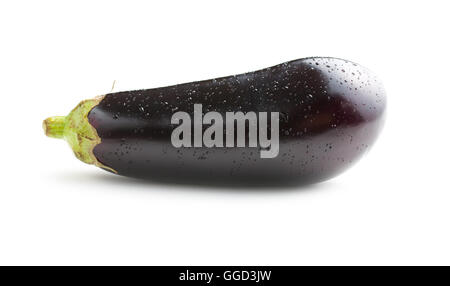 dewy fresh eggplant isolated on white background Stock Photo