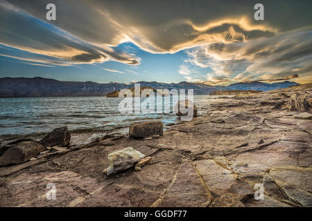 South America; Argentina, Santa Cruz; Patagonia; Lago Posadas, sunset, Lago Posadas - Stock Photo