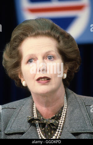 Mrs Margaret Thatcher 1983 General Election press conference London UK 1980s.  HOMER SYKES - Stock Photo