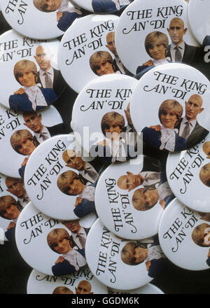 Prince Charles and Diana royal wedding souvenir pin button badge The King an Di  Prince Charles and Lady Diana Spencer - Stock Photo