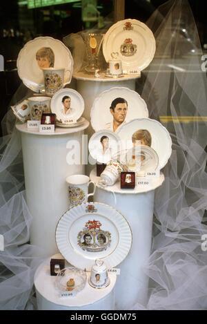 Royal Wedding of Prince Charles and Lady Diana Spencer, souvenir   July 29th LOndon Uk 1981 HOMER SYKES - Stock Photo