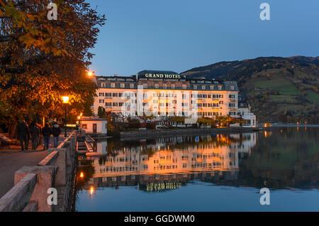 Zell am See: Grand Hotel at lake Zeller See, Austria, Salzburg, Pinzgau - Stock Photo