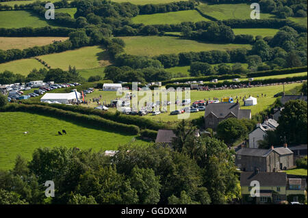 View over Gwenddwr Show and village, Gwenddwr, near Builth Wells, Powys, Wales, UK - Stock Photo