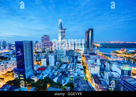 Night view of Business and Administrative Center of Ho Chi Minh city, Vietnam - Stock Photo