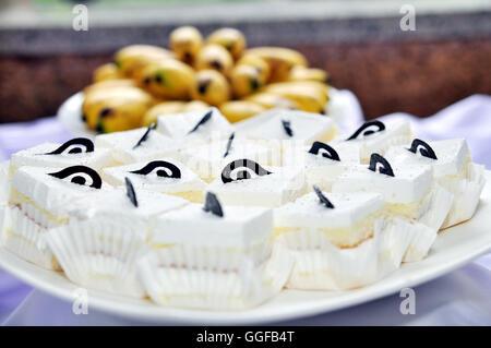 White cream Cake with chocolate - Stock Photo