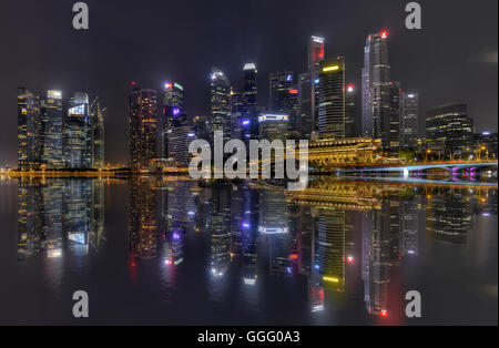 Central Business District Singapore City and Marina Bay Financial Centre - Stock Photo