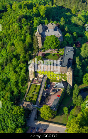 Aerial view, Burghotel Schnellenberg, castle hotel Schnellenberg, castle Burg Schnellenberg, Aerial view of Attendorn, - Stock Photo