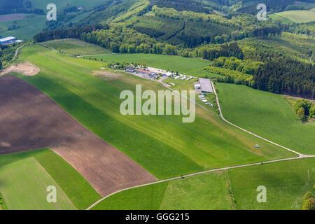 Aerial view, aerodrome, airfield, gliding terrain Bergneustadt on the Dümpel, Aerial view of Drolshagen, Sauerland, - Stock Photo