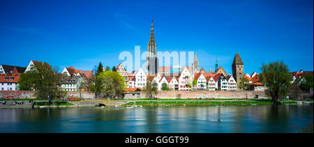 geography / travel, Germany, Baden-Wuerttemberg, panorama across the Danube to Ulm with Ulm Muenster and Metzgerturm - Stock Photo