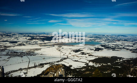 geography / travel, Germany, Bavaria, panorama from the Tegelberg Massif, lakeland near Fuessen, East Allgaeu, Allgaeu, - Stock Photo