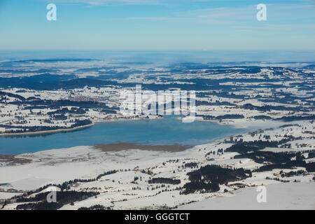 geography / travel, Germany, Bavaria, panorama from the Tegelberg Massif, Lake Forggen (Forggensee), East Allgaeu, - Stock Photo
