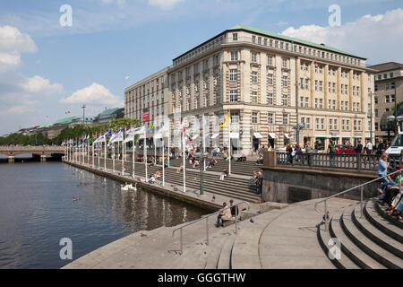 geography / travel, Germany, Hamburg, Alster River dike, promenade, Additional-Rights-Clearance-Info-Not-Available - Stock Photo
