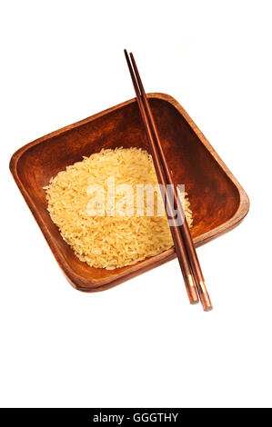 bowl, rice and chopsticks isolated - Stock Photo