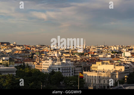 View of the skyline from the roof terrace of Círculo de Bellas Artes, Cultural Arts centre in central, Madrid, Spain - Stock Photo