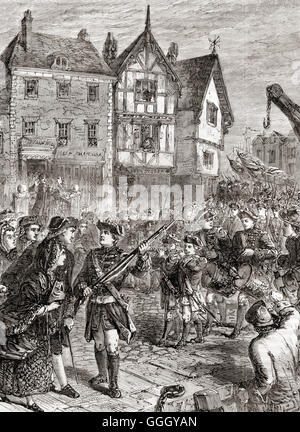 British soldiers enter Boston, America in 1768 to protect and support crown-appointed colonial officials attempting - Stock Photo