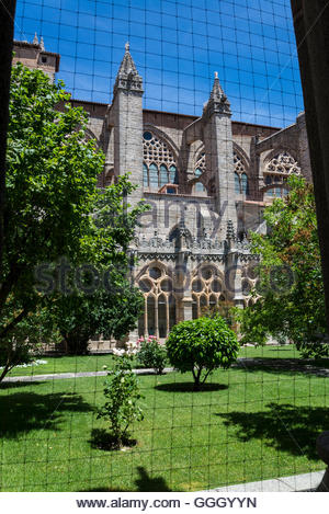 Cloister of Cathedral of Avila, Romanesque and Gothic church, Avila, Castilla y Leon, Spain - Stock Photo