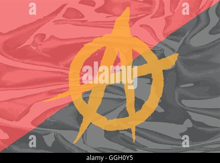 The red and black anarchy flag with yellow symbol - Stock Photo