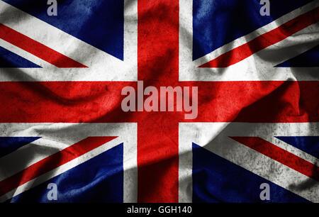 Closeup grunge of ruffled British flag - Stock Photo