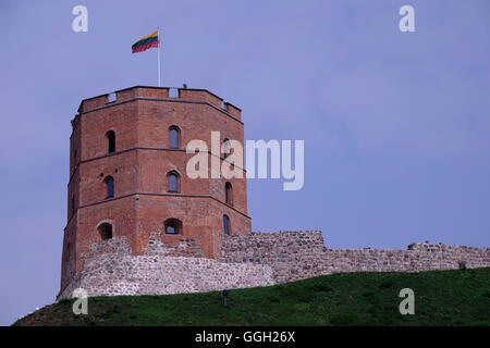View of Gediminas' Tower the remaining part of the Upper Castle in the old city of Vilnius in Lithuania - Stock Photo