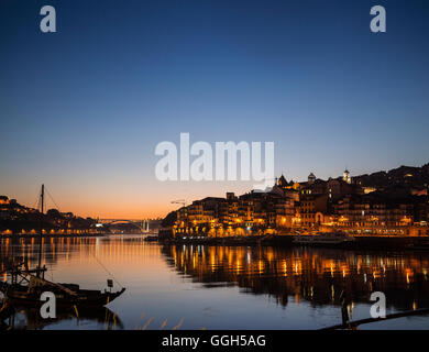 porto old town ribeira area and douro riverside in portugal at night - Stock Photo