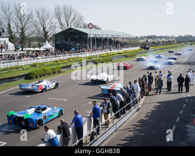 Start of historic Le Mans racing cars, 72nd Members Meeting, racing, car racing, classic car, Chichester, Sussex, - Stock Photo
