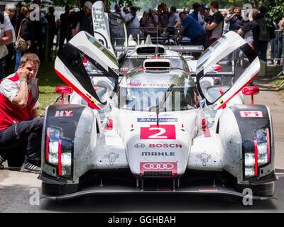 Andre Lotterer, Le Mans winner 2014, Audi R18 E-Tron Quattro Hybrid, Goodwood Festival of Speed 2014, racing, car - Stock Photo