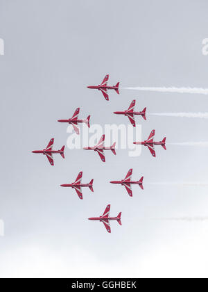 Royal Air Force, aerobatic team Red Arrows, Goodwood Festival of Speed 2014, racing, car racing, classic car, Chichester, - Stock Photo