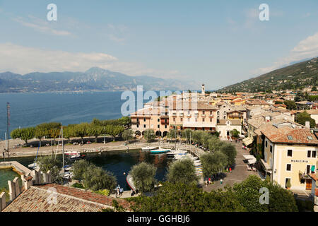 View over old town to the Lake Garda, Torri del Benaco, Veneto, Italy - Stock Photo