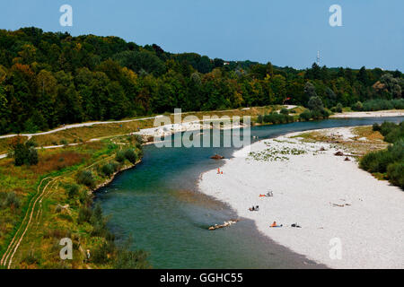 River Isar, Grosshesselohe, Munich, Upper Bavaria, Bavaria, Germany - Stock Photo