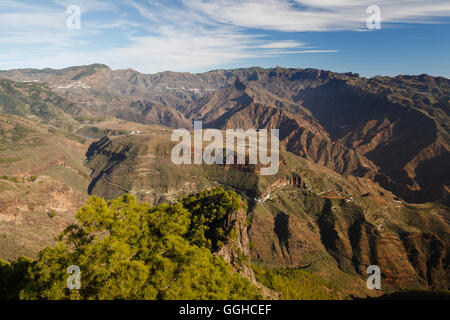 Roque Nublo, Roque Bentayga, Meseta de Acusa, caves, village, Acusa Verde, Parque Rural del Nublo, Natural Preserve, - Stock Photo
