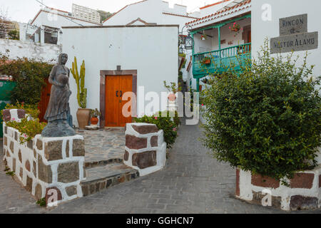 Rincon de Nestor Alamo, alley in Tejeda village, Gran Canaria, Canary Islands, Spain, Europe - Stock Photo