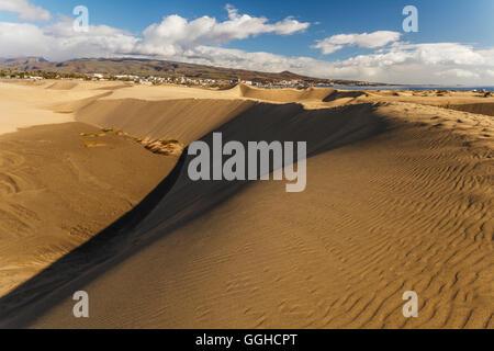 Dunes of Maspalomas, Dunas de Maspalomas, natural reserve, Maspalomas, municipality of San Bartolomé de Tirajana, - Stock Photo