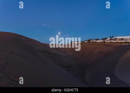 Dunes of Maspalomas, Dunas de Maspalomas, natural reserve, Maspalomas, municipality of San Bartolome de Tirajana, - Stock Photo