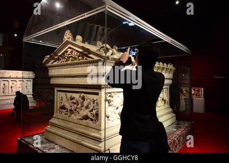 Alexander Sarcophagus, Archaeology Museum, Istanbul, Turkey - Stock Photo
