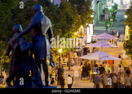 Lanner and Strauss statue, Wine festival in the park, Baden near Vienna, Lower Austria, Austria - Stock Photo