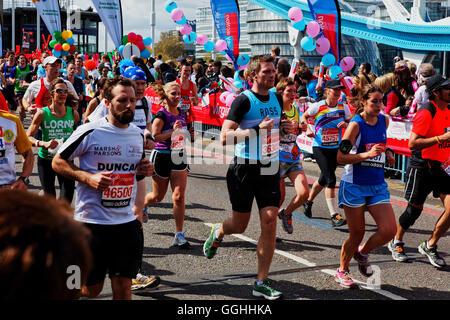 Virgin Money London Marathon, Tower Bridge, London, England, United Kingdom - Stock Photo