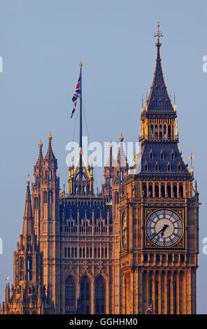 Big Ben and Victoria Tower, Westminster Palace aka Houses of Parliament, Westminster, London, England, United Kingdom - Stock Photo