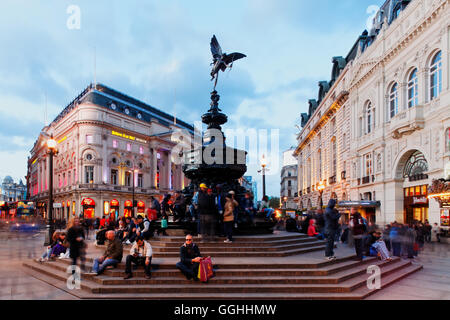 Picadilly Circus and the Eros statue, West End, London, England, United Kingdom - Stock Photo