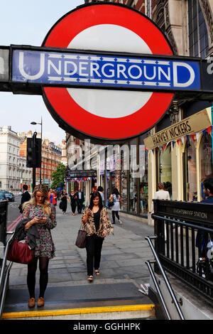 Underground station, Knightsbridge, London, England, United Kingdom - Stock Photo