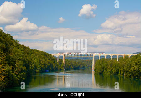 Railway bridge across the river Rhine near Eglisau, Hochrhein, Canton of Zurich, Switzerland, Europe - Stock Photo