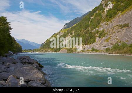 River Rhine near Chur, Alpenrhein, Rhine, Canton of Grisons, Switzerland, Europe - Stock Photo
